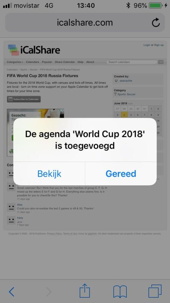 Speelschema WK 2022 met iCal in agenda importeren